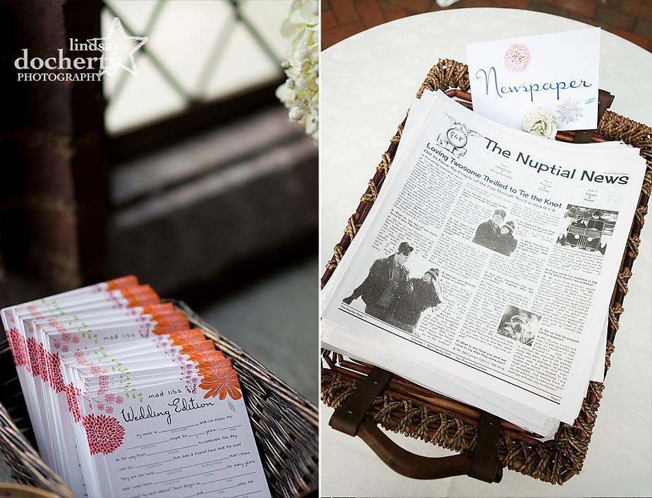 Wedding Madlibs and wedding newspaper program