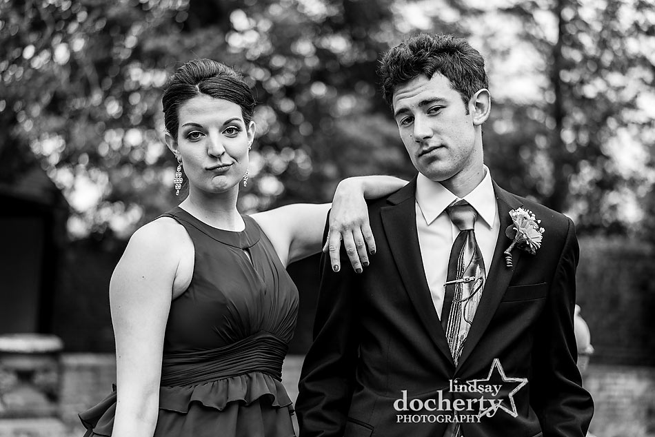 wedding party goofy pictures at Aldie Mansion