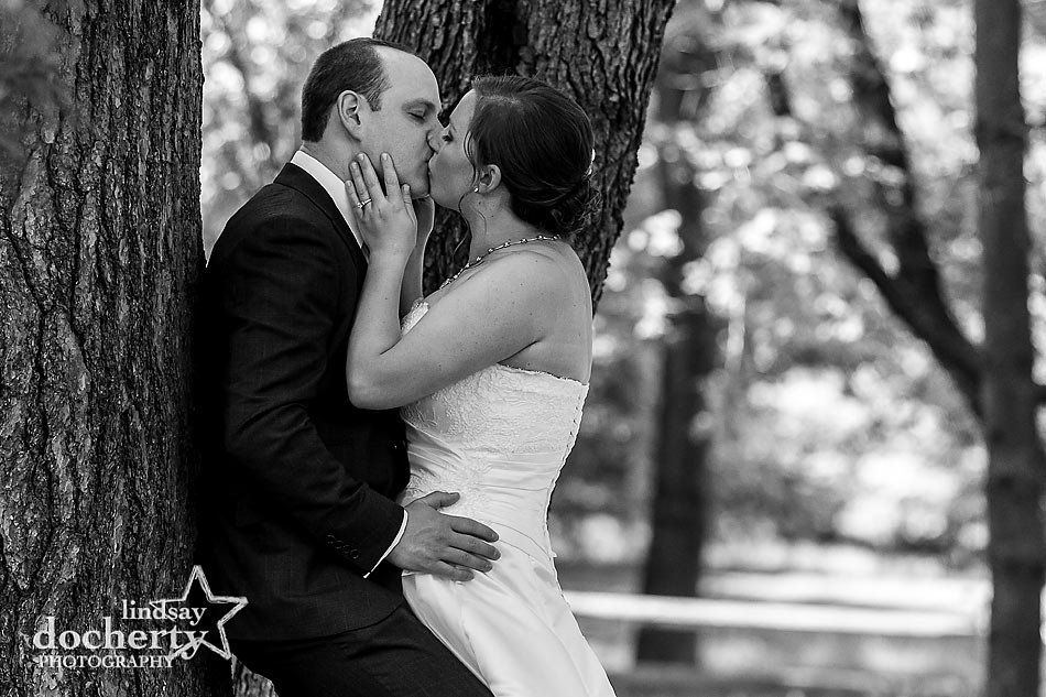 bride and groom first look in summer for Pennsylvania kiss