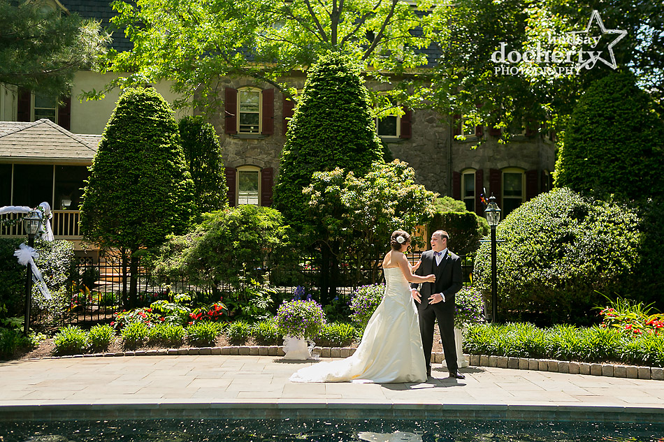 bride and groom first look in summer for Pennsylvania