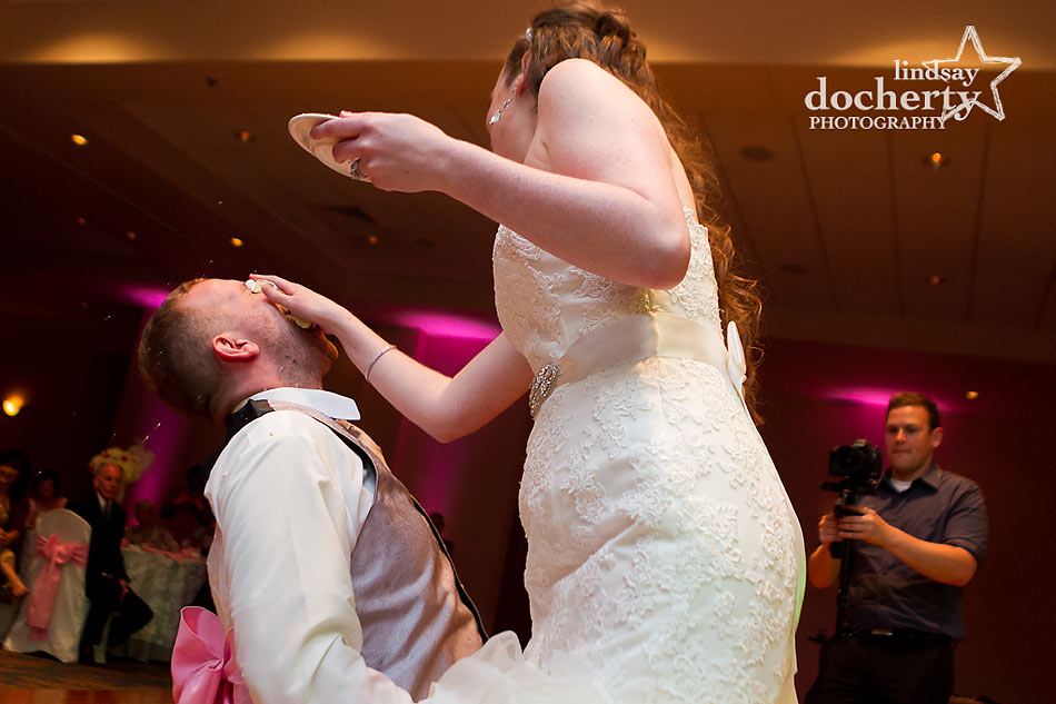 cake smash at Delaware wedding reception