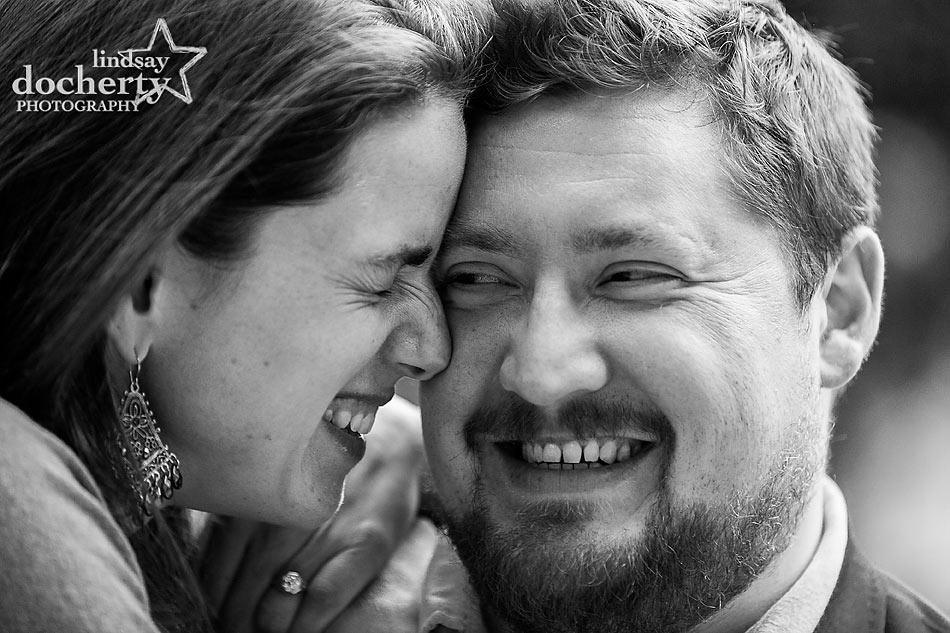 Philadelphia engagement session laughing couple