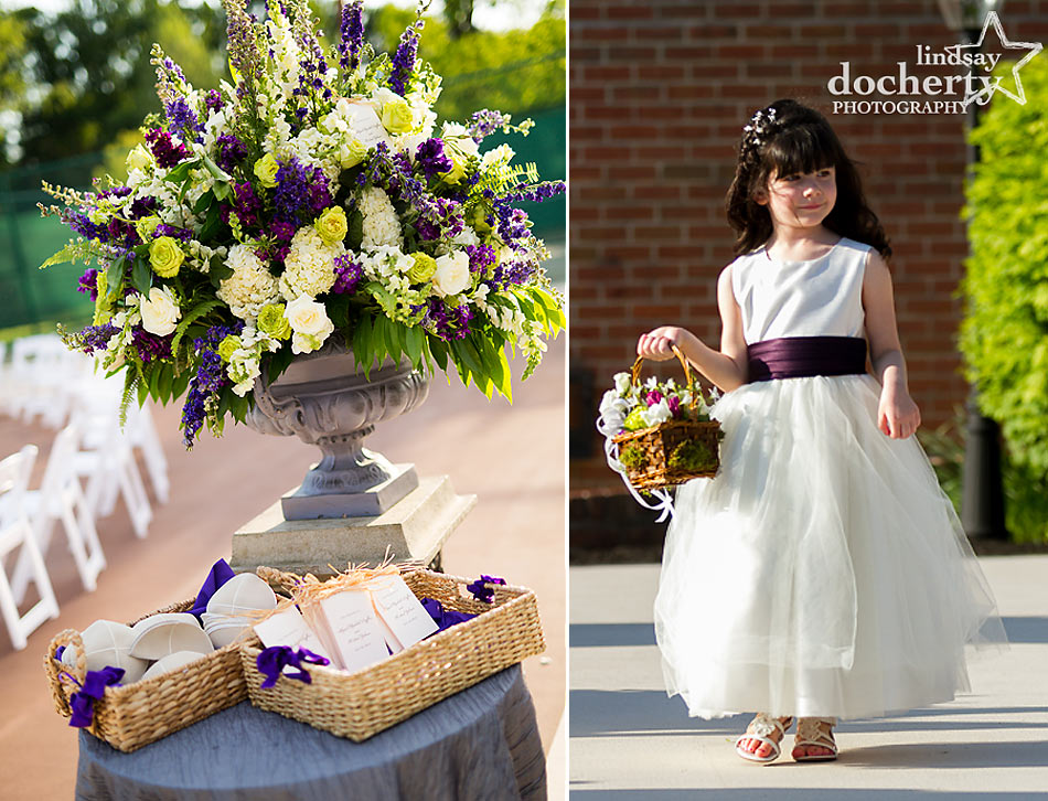 floower girl and aisle decor at wedding ceremony at ACE Conference Center in Lafayette Hill