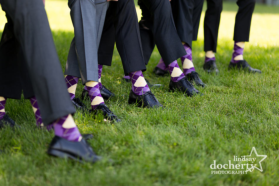 fun purple and yellow argyle socks for groomsmen