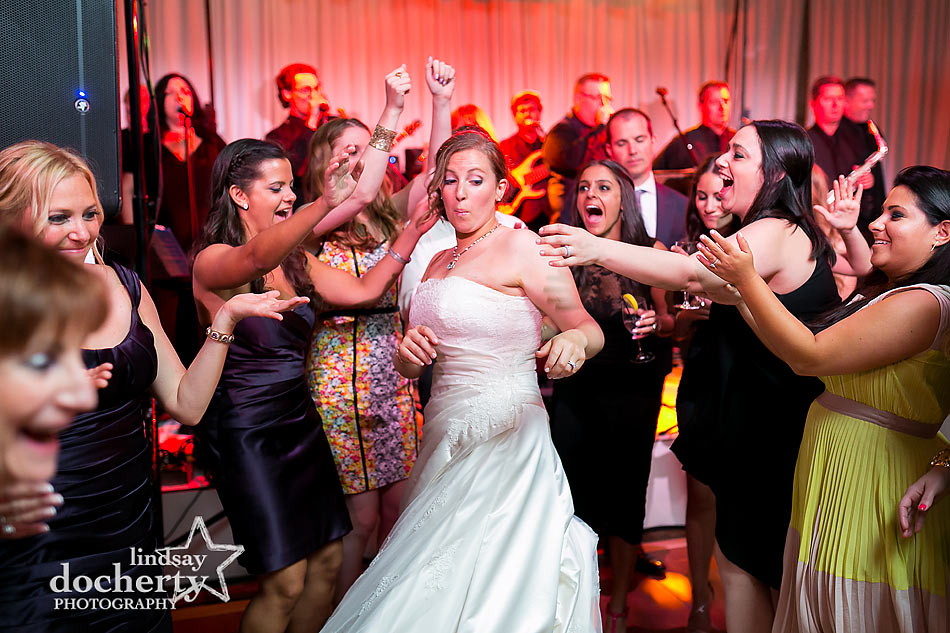 fun Jewish wedding reception at ACE Conference Center in Lafayette Hill