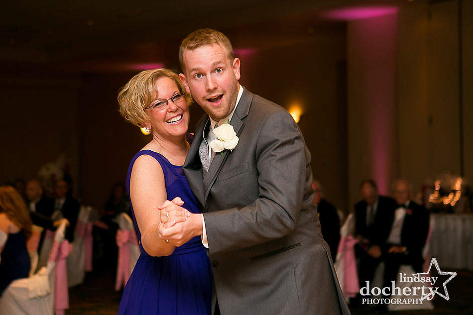 fun mother son dance at wedding reception