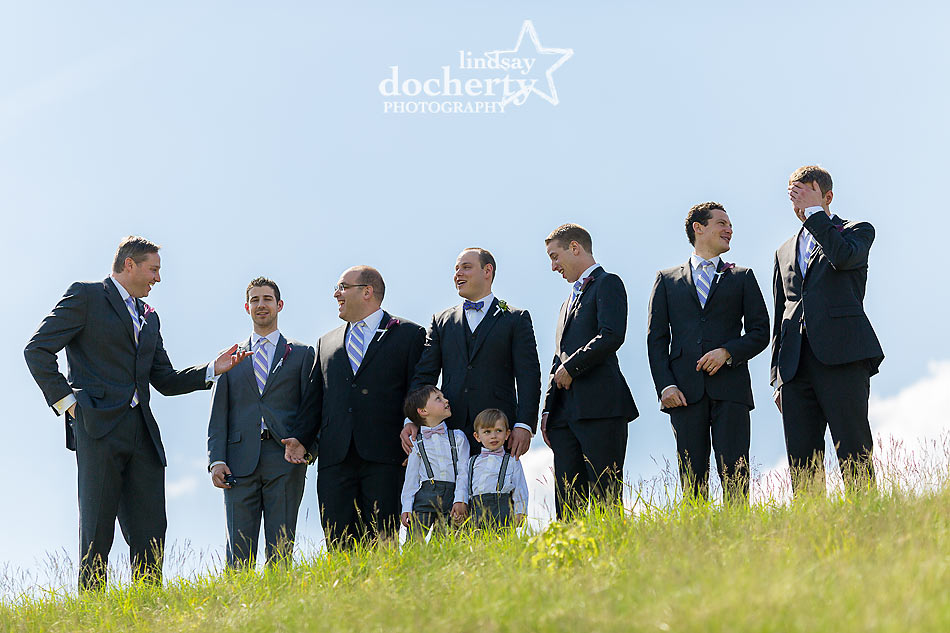 groomsmen with open sky at ACE Conference Center in Lafayette Hill