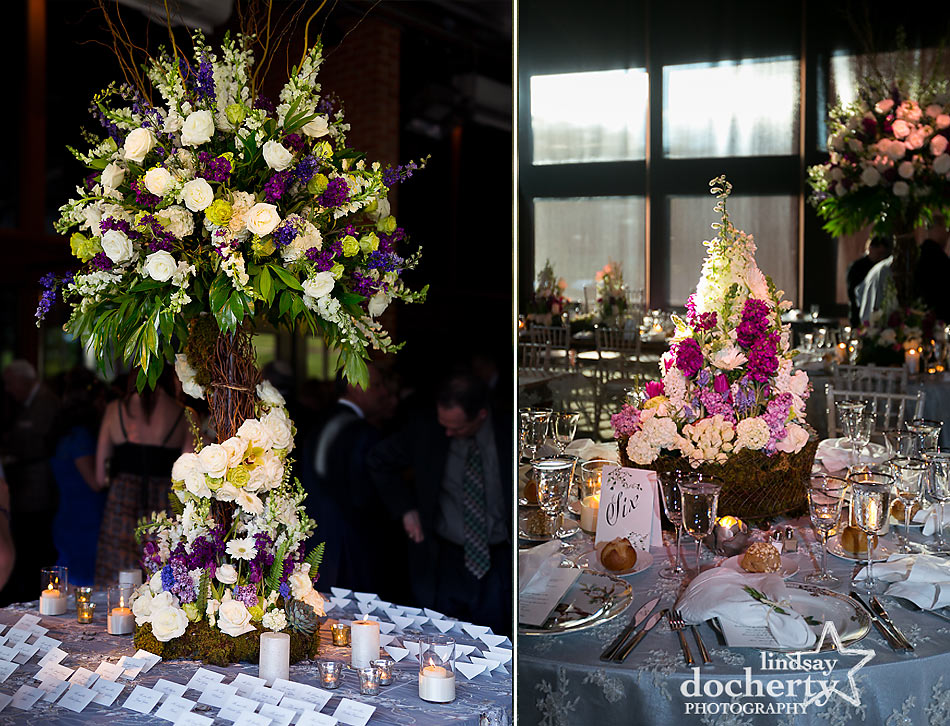 Lamsbach white and purcple wedding centerpieces at ACE Conference Center in Lafayette Hill