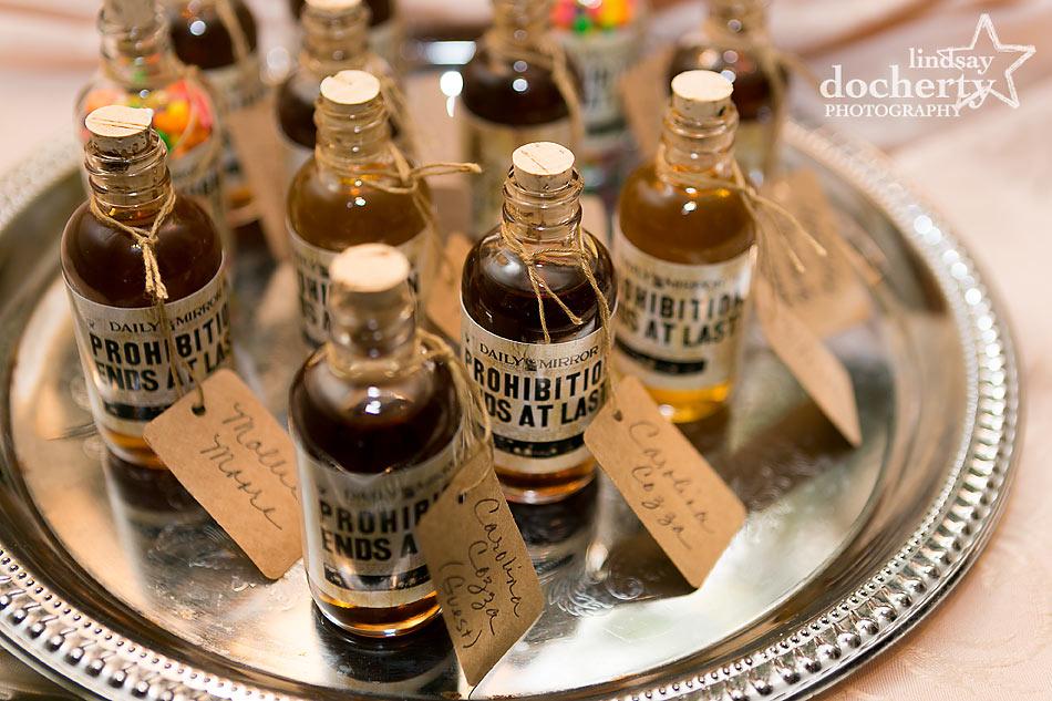 prohibition whiskey wedding favors