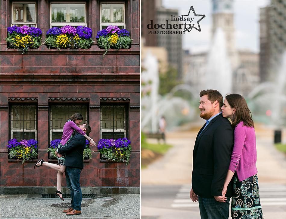 Summer Philadelphia engagement session at Logan square and Rittenhouse