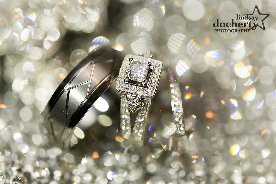sparkly wedding bands and engagement ring
