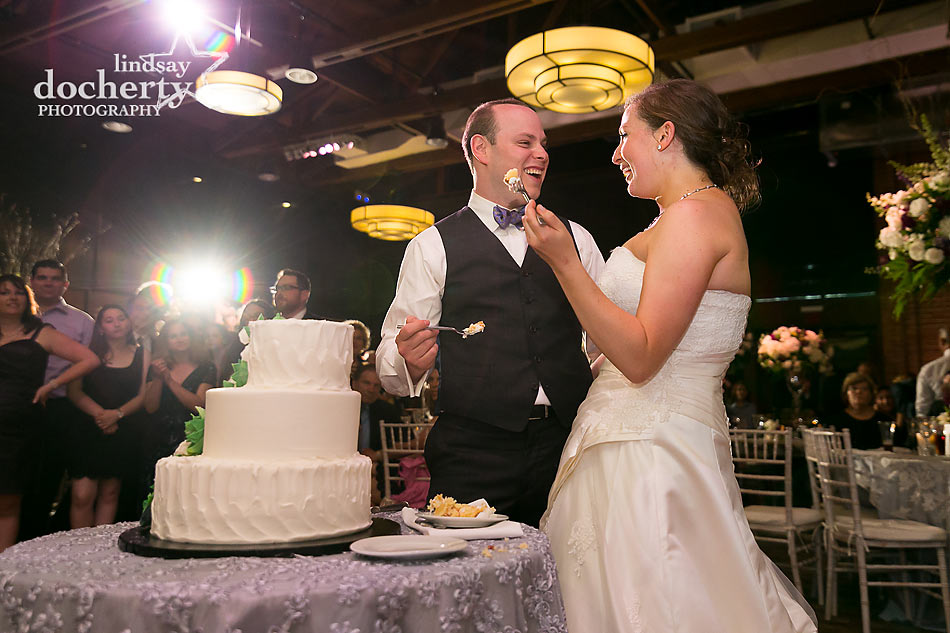 wedding cake cutting at ACE Conference Center in Lafayette Hill
