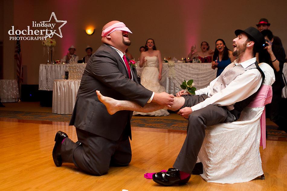 wedding garter switcharoo at reception