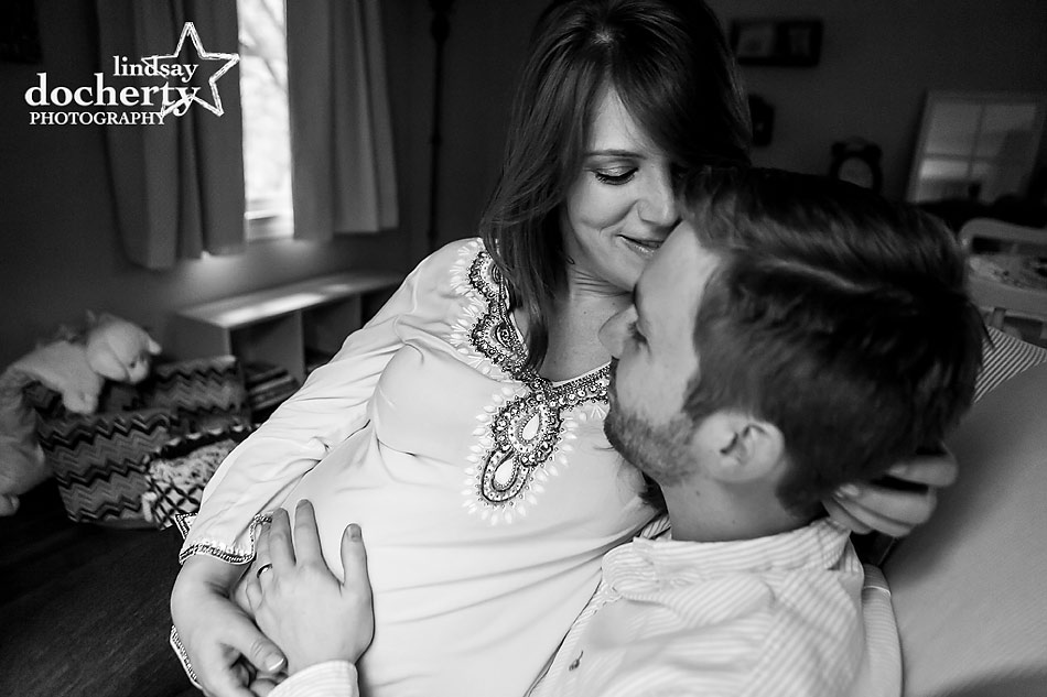 tender Main Line maternity session with mom and dad
