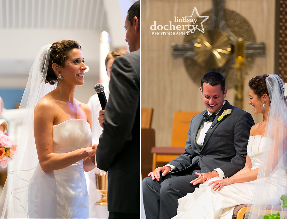 bride and groom exchange Catholic vows on wedding day at St. Ignatius Loyola Church