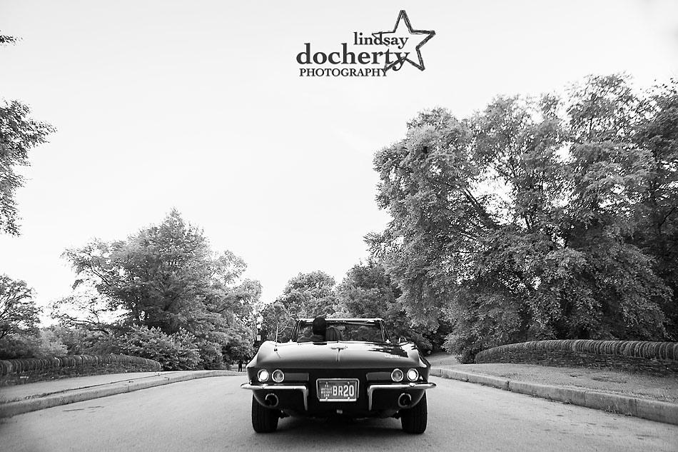 Philadelphia engagement session with classic vintage car Corvette