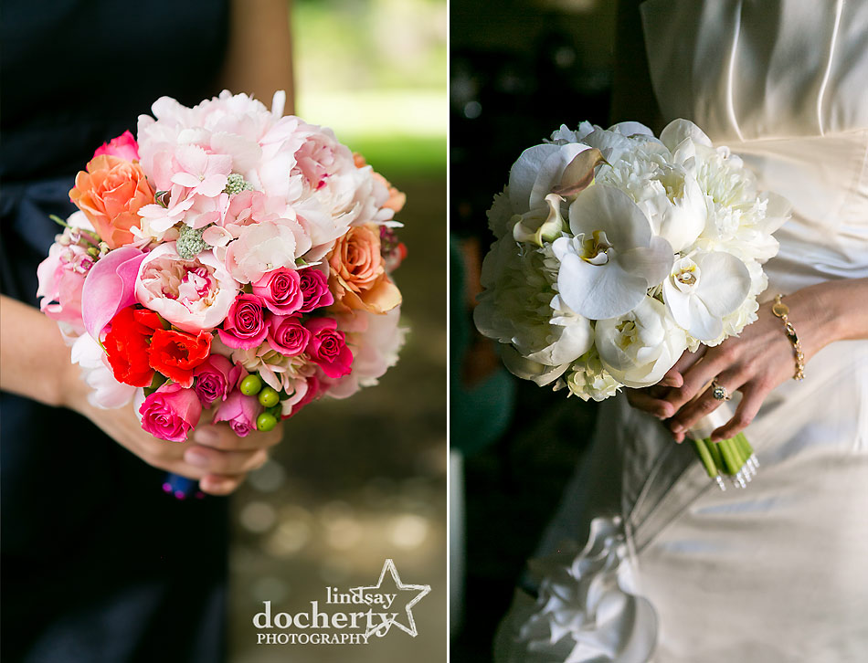 pink and white wedding bouquets for bride and bridesmaids