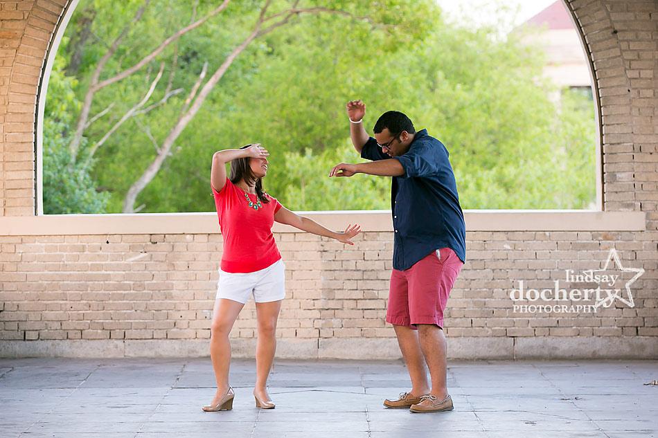 dancing at Engagement session in South Philadelphia FDR Park