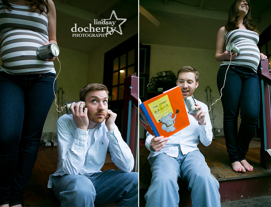 funny Main Line maternity session with mom and dad