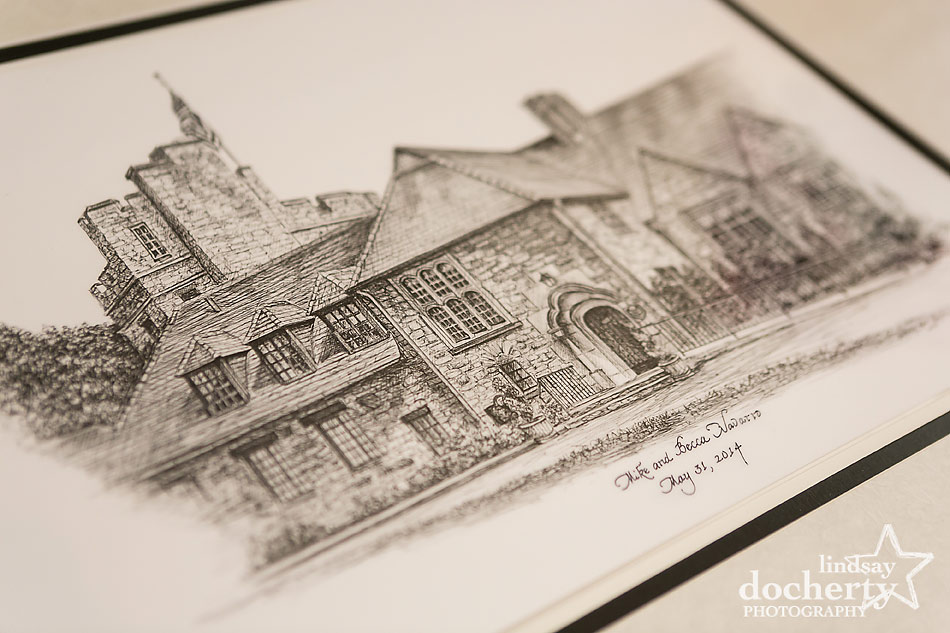 pen and ink wedding gift drawing of Stokesay Castle in Reading, PA