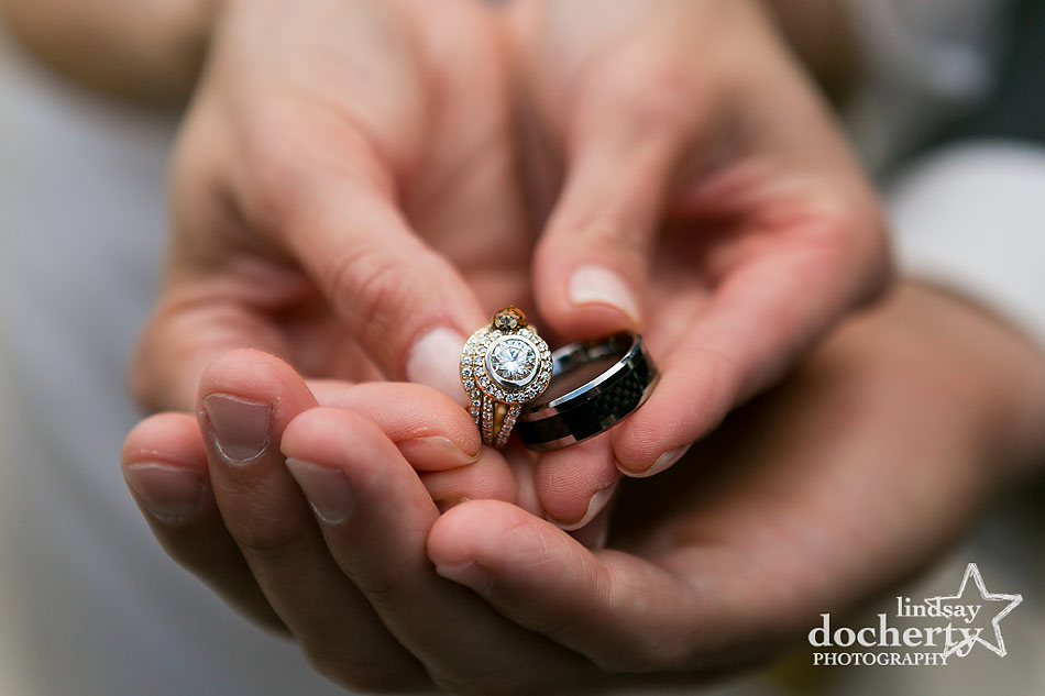 ladybug wedding and engagement ring shot