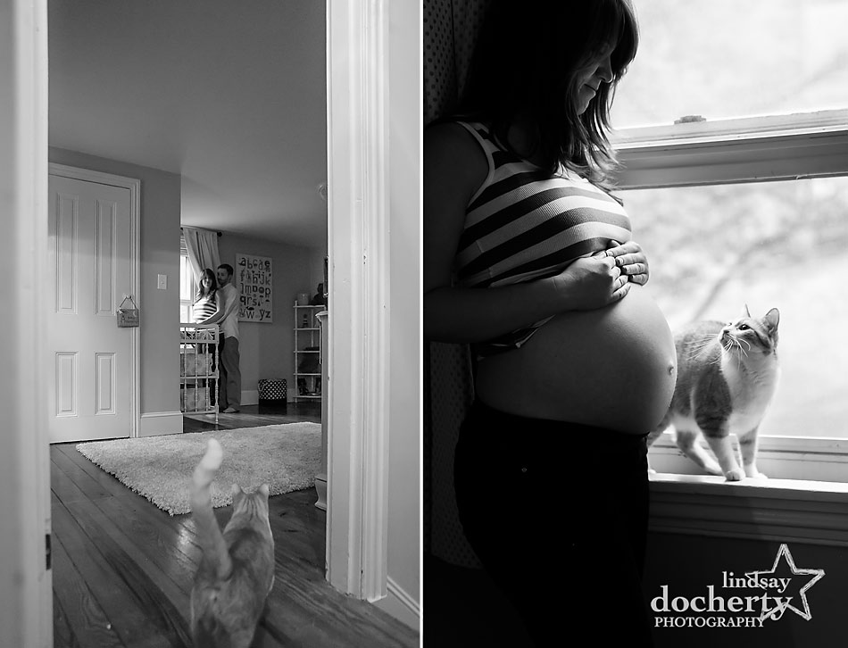 Main Line maternity session with gorgeous mom to be and cat in nursery