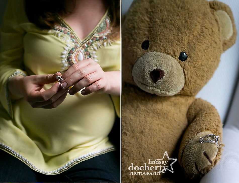 sweet Main Line maternity session with mom and old teddy bear with rings