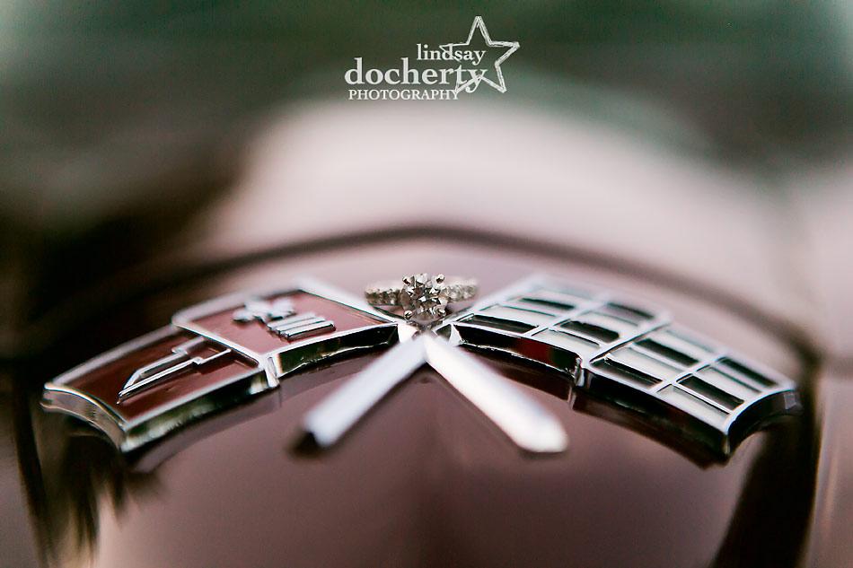 engagement rings on vintage Corvette