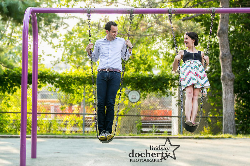 Engagement session at Philadelphia's Schuylkill River Park on swings