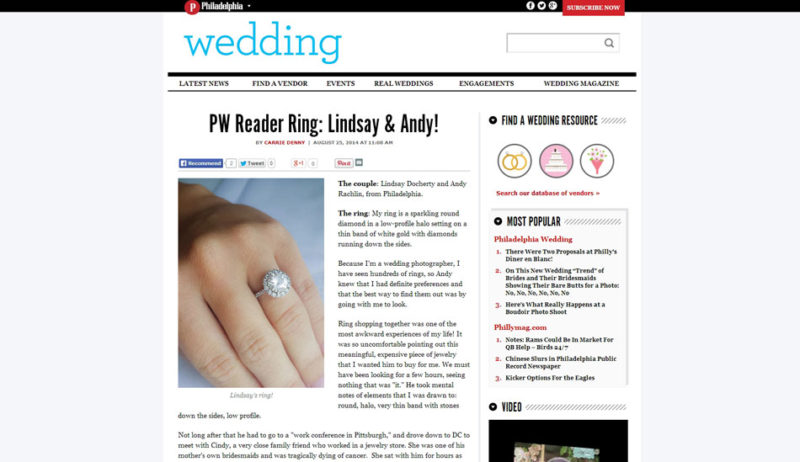 Philadelphia Wedding magazine blog reader ring