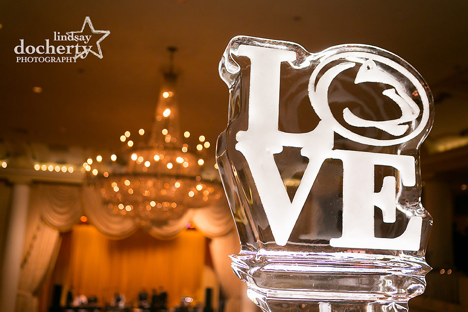 Penn State ice sculpture at Philadelphia wedding reception at the Hyatt at the Bellevue grand ballroom
