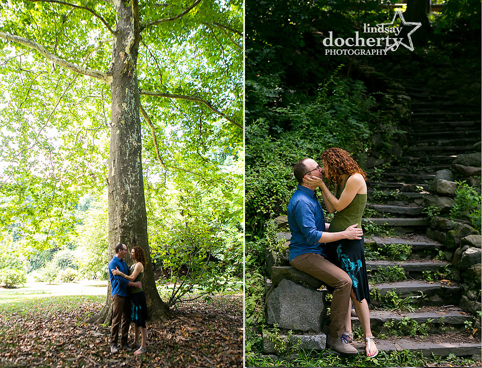 engagement photography session in green Philadelphia Park by the Schuylkill