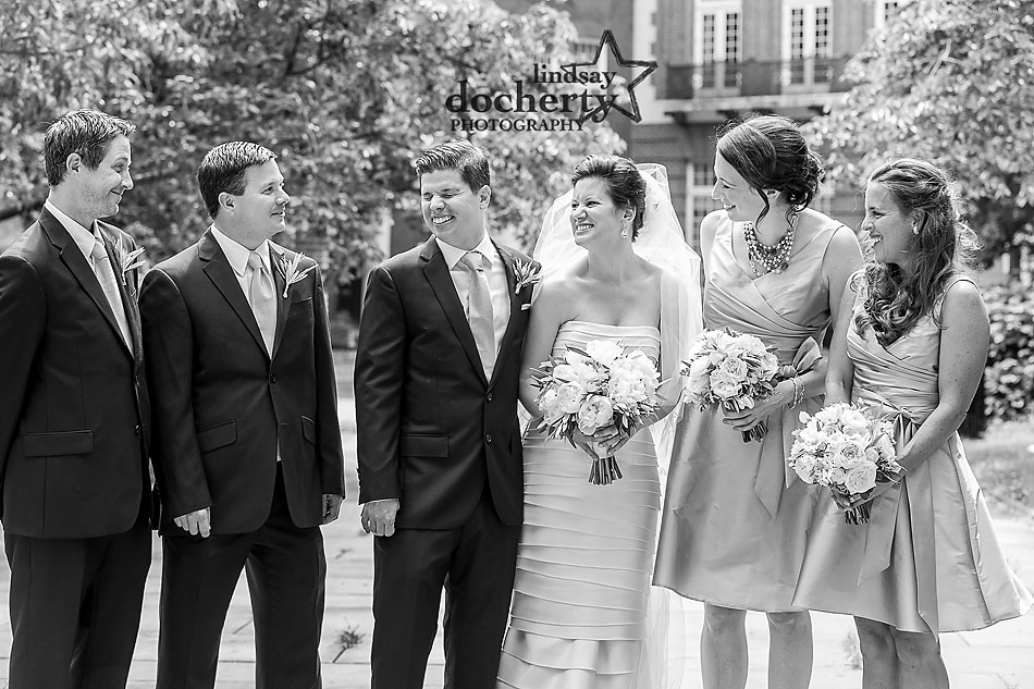 laughing wedding party in Philadelphia Washington Square Park