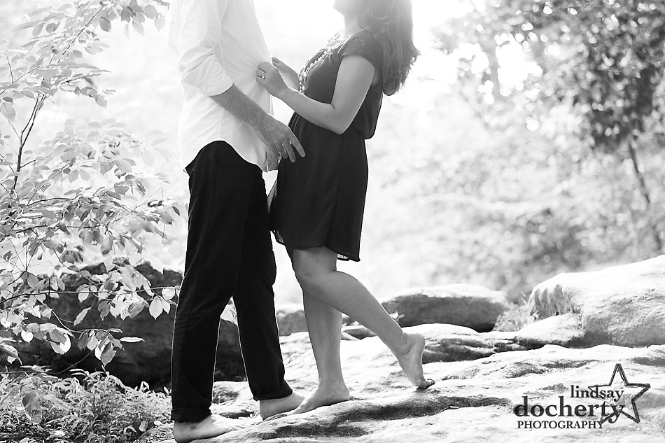 barefoot nature engagement session in Philadelphia's Wissahickon Park