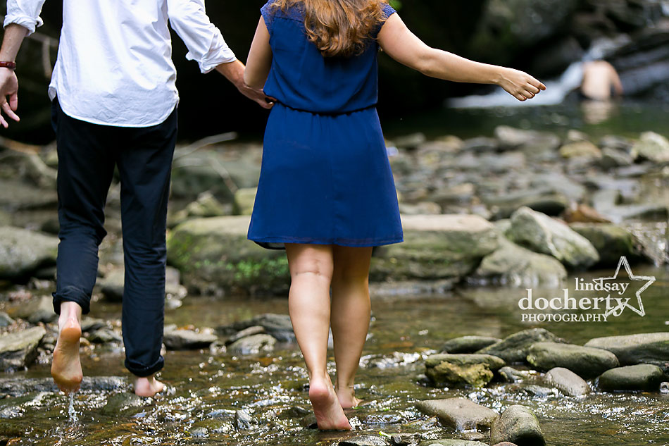 barefoot Engagement session by Philadelphia's Wissahickon Creek