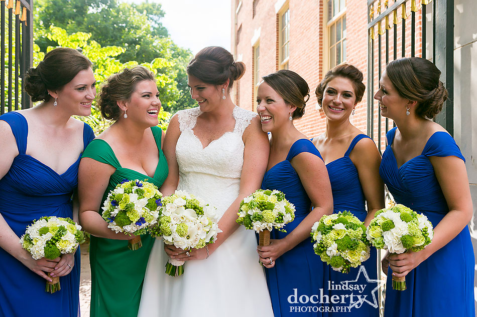 bride and bridesmaids pictures around Philadelphia Society Hill