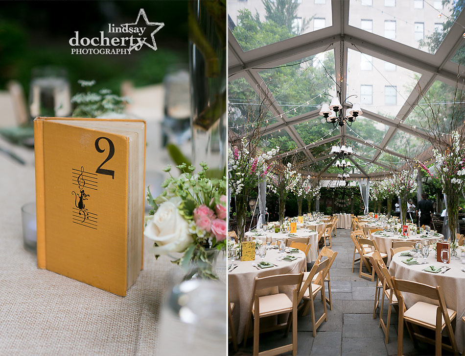 pink and green garden Philadelphia wedding reception at Morris House Hotel with books