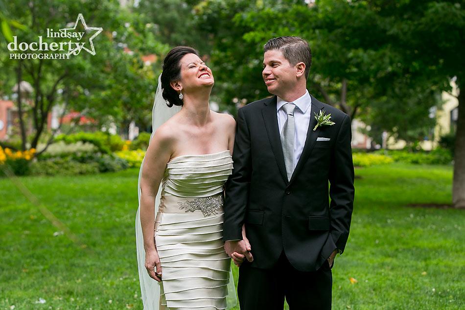 bride and groom on wedding day in Philadelphia Washington Square Park