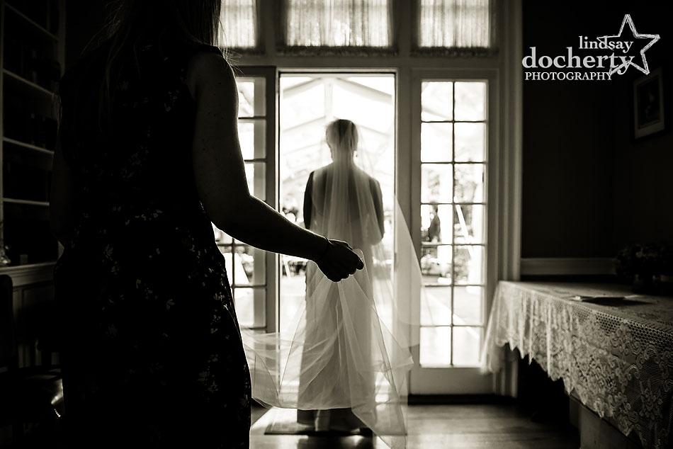 bride walking down aisle alone wedding at Morris House Hotel in Philadelphia