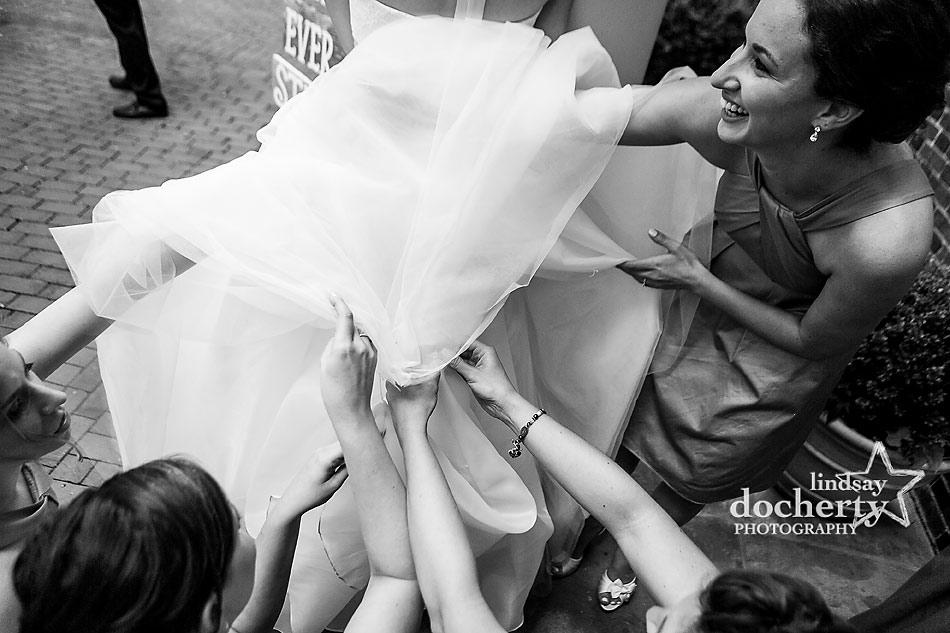 bridesmaids bustling huge tulle dress at Morris House Hotel