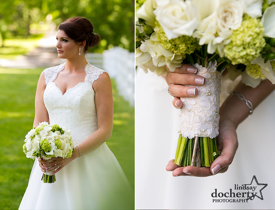 classic bride with freckles and a white and green bouquet