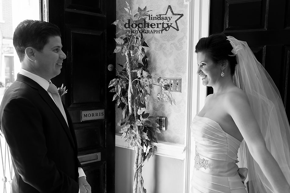 bride and grrom first look at wedding at Morris House Hotel in Philadelphia