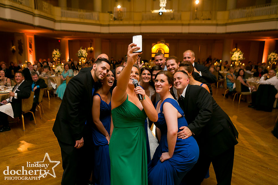 funny selfie wedding toast at Philadelphia wedding reception at the Hyatt at the Bellevue grand ballroom