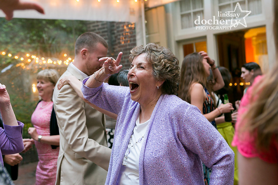 grandmother rocking out at Philadelphia wedding reception at Morris House Hotel