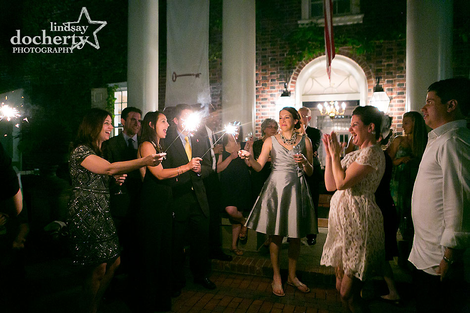 last dance with sparklers at wedding at Morris House Hotel in Philadelphia