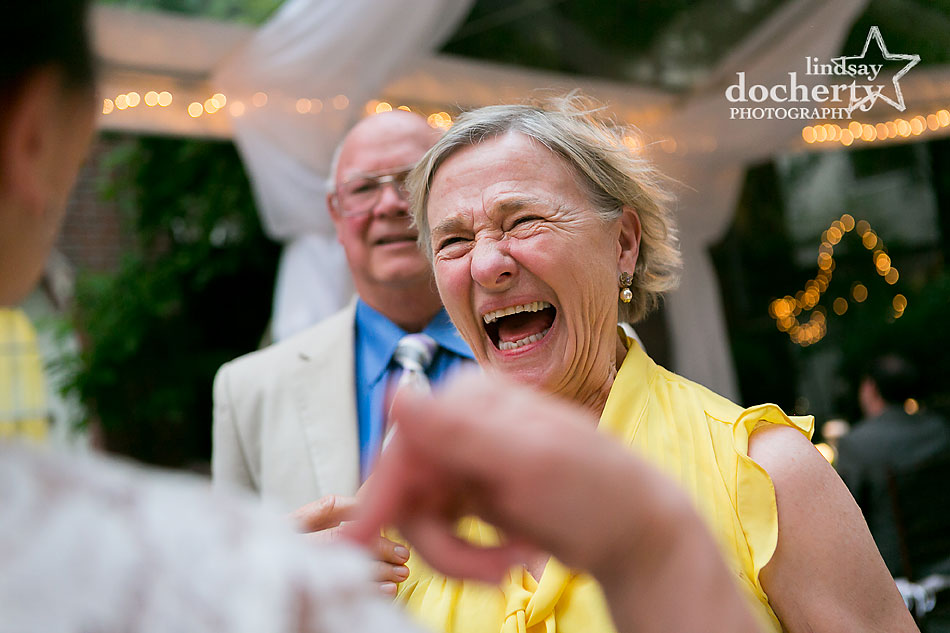 laughing guest at wedding at Morris House Hotel in Philadelphia