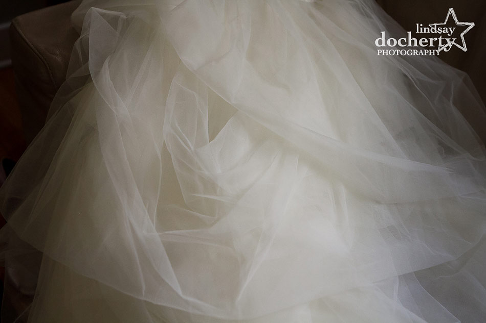 layers of asymmetrical tulle wedding dress