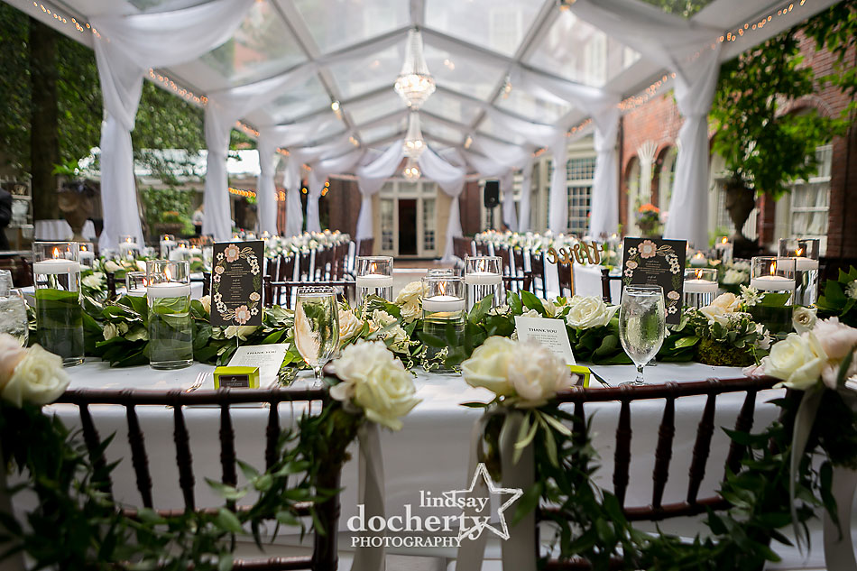 wedding reception at Morris House Hotel in Philadelphia with draped and tent