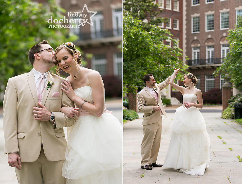 pink and green Philadelphia wedding bride and groom pictures in Washington Square Park