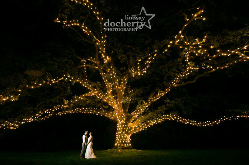 Nighttime wedding at Aldie Mansion under big oak tree with lights